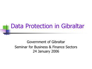 Data Protection in Gibraltar