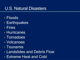 U.S. Natural Disasters