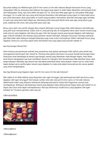 Agen Judi On line casino On the net Indonesia dengan Reward Melimpah