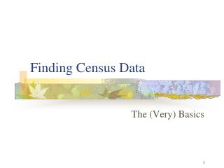 Finding Census Data