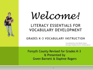 LITERACY ESSENTIALS FOR VOCABULARY DEVELOPMENT GRADES K-3 VOCABULARY INSTRUCTION