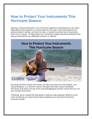How to Protect Your Instruments This Hurricane Season