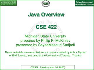 Java Overview CSE 422