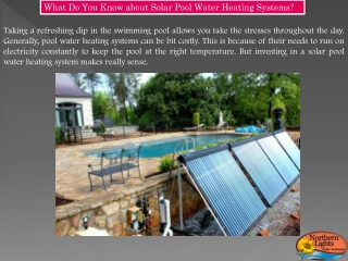Solar Pool Water Heating Systems - Northern Lights Solar Solutions