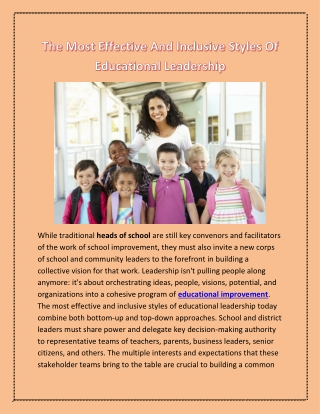 The Most Effective And Inclusive Styles Of Educational Leadership