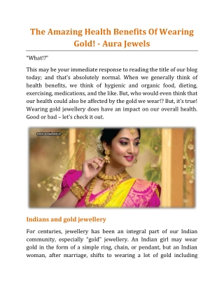 The Amazing Health Benefits Of Wearing Gold! - Aura Jewels