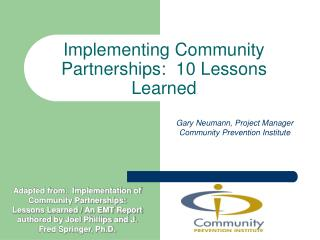 Implementing Community Partnerships:  10 Lessons Learned