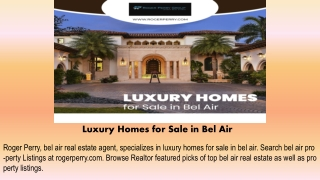 Luxury Homes for Sale in Bel Air