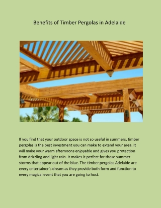 Benefits of Timber Pergolas in Adelaide