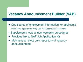 Vacancy Announcement Builder (VAB)