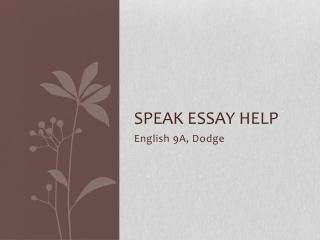 Speak Essay
