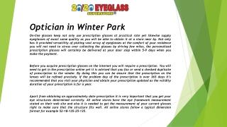 Optician in Winter Park