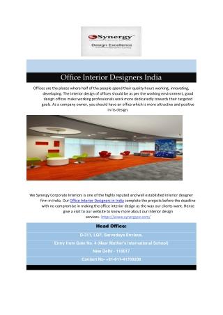 Office Interior Designers- Synergy