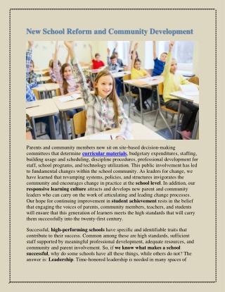 New School Reform and Community Development