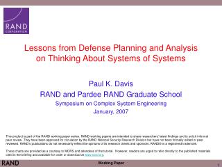 Lessons from Defense Planning and Analysis on Thinking About Systems of Systems