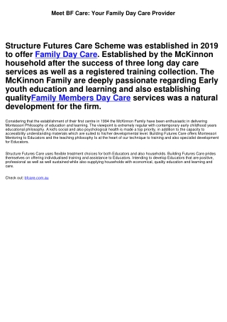 Meet BF Care: Your Family Day Care Provider