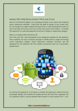 Mobile First Web Development: Pros and Cons