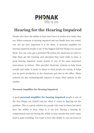 Hearing for the Hearing Impaired