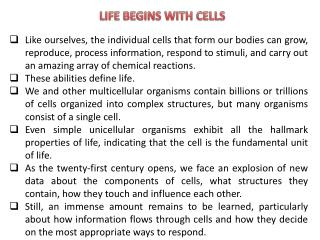 LIFE BEGINS WITH CELLS