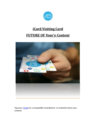 Smart Visiting Cards with Advanced NFC Technology