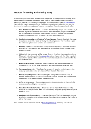 Methods for Writing a Scholarship Essay