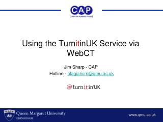 Using the Turn it in UK  Service via WebCT