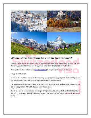 When is the Best time to visit in Switzerland?