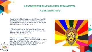 Features the nine colors of Navratri - Maharashstra Today