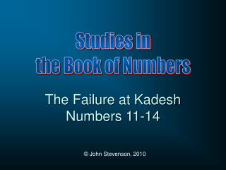 The Failure at Kadesh Numbers 11-14