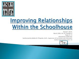 Improving Relationships Within the Schoolhouse