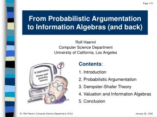 From Probabilistic Argumentation  to Information Algebras and back