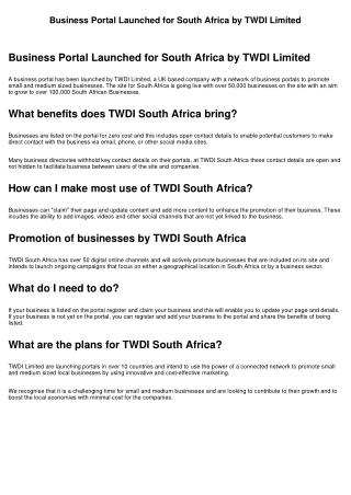 Business Portal Launched for South Africa by TWDI Limited