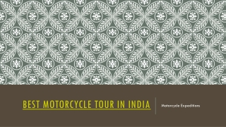 Best Motorcycle Tours in India