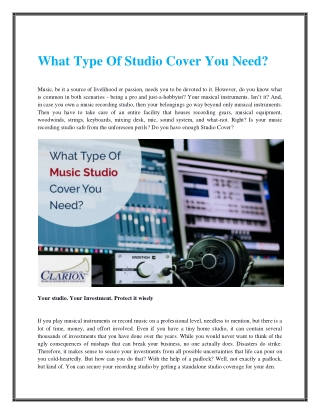 What Type Of Studio Cover You Need?
