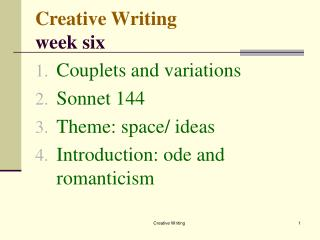 Creative Writing week six