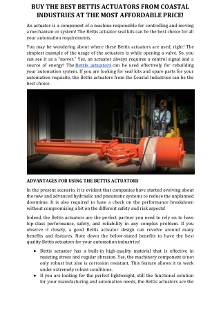 Buy the Best Bettis Actuators from Coastal Industries at the Most Affordable Price!