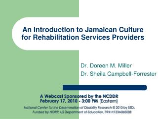 An Introduction to Jamaican Culture for Rehabilitation Services Providers