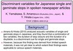 Discriminant variables for Japanese single and geminate stops in spoken newspaper articles