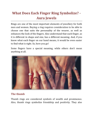 What Does Each Finger Ring Symbolize - Aura Jewels