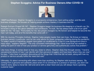 Stephen Scoggins: Advice For Business Owners After COVID-19