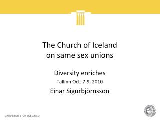 The Church of Iceland  on same sex unions