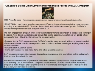Ori'Zaba's Builds Diner Loyalty and Franchisee Profits with Z.I.P. Program