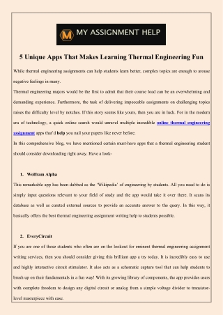 5 Unique Apps That Makes Learning Thermal Engineering Fun