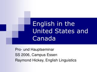 English in the United States and Canada