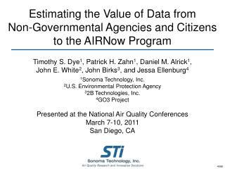 Estimating the Value of Data from  Non-Governmental Agencies and Citizens  to the AIRNow Program