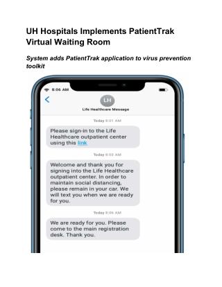 UH Hospitals Implements PatientTrak Virtual Waiting Room