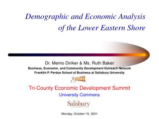 Demographic and Economic Analysis of the Lower Eastern Shore