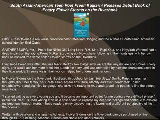 South Asian-American Teen Poet Preeti Kulkarni Releases Debut Book of Poetry Flower Storms on the Riverbank