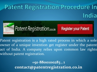 Patent Registration process in India