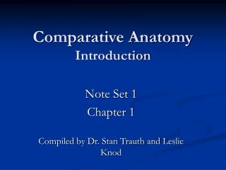 Comparative Anatomy Introduction